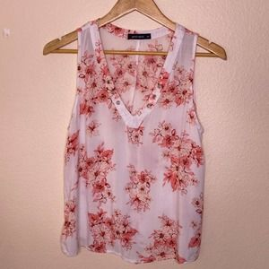 Gypsy Rose Pink Floral Print Tank Medium